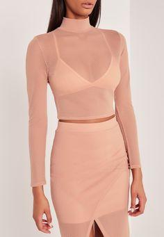 Missguided - Carli Bybel Airtex Mesh Crop Top Pink