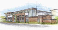Retail Architecture, Industrial Architecture, Education Architecture, School Architecture, Modern Architecture, Sketch Architecture, Building Sketch, Building Facade, School Building Design
