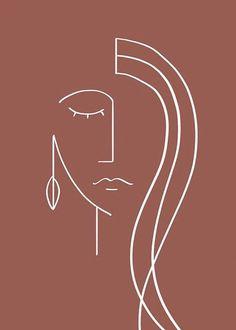 Art Abstrait Ligne, Line Art, Art Minimaliste, Art Visage, Dark Red Background, Abstract Face Art, Abstract Watercolor, Face Lines, Modern Art Prints