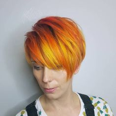 Short Red Bob With Yellow Highlights