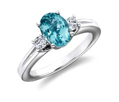 Blue Topaz and Diamond Ring in 18k White Gold | #Jewelry #Wedding #Style
