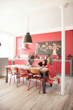 Cuisine salle à manger rouge
