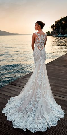 36 Totally Unique Fashion Forward Wedding Dresses ❤ fit and flare charming lace backless sleeveless with train fashion forward wedding dresses eddy k ❤ See more: http://www.weddingforward.com/fashion-forward-wedding-dresses/ #weddingforward #wedding #bride