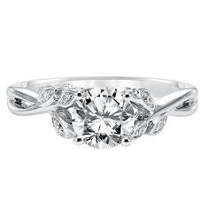 Diamond engagement ring with round center stone and diamond enhanced band | Engagement Rings from D. Geller & Son Jewelers | Atlanta, GA