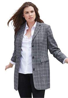 c961ba1db21 Amazing offer on Ellos Women s Plus Size Long Wool Blend Blazer online -  Theoffersstyle. Women s Fashion Shop + Shop From Amazon