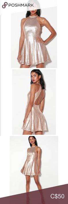 NWT -LULUS Champagne Halter Backless Dress Lulus Exclusive! Heads will turn and jaws will drop when they see you in the Lulus Under the Spotlight Champagne Sequin Backless Skater Dress! Matte champagne sequins dazzle across a modified halter neckline (secured by two buttons) that tops off an alluring open back. A princess-seamed sleeveless bodice sits above the fitted waist, while a mini skater skirt twirls below. Hidden back zipper/clasp. * Fully lined. * 100% Polyester. Still online @LULUS… Mini Skater Skirt, Skater Dress, Plus Fashion, Fashion Tips, Fashion Trends, Princess Seam, Backless, Sequins, Drop