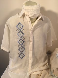 Handwoven Fabric Shirt for Men - Raw Cotton Hand Embroidered Shirt for Summer - Men's Summer Shirt - Light Weight Fabric Shirt for Guys nWWj64