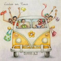 Ladies On Tour road trip vacation holiday , Ladies Who Love Life ... Berni Parker funny cute art vw van