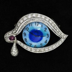 Salvador DALI (Spain 1904 - 1989) Eye of Time 1970s Platinum, diamond, ruby and enamel on gold pendant brooch designed by Dali and executed in a limited edition of ten by Henryk Kaston.