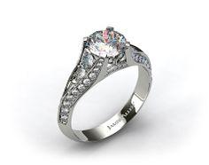 Platinum 0.50ctw Pave Set Diamond Engagement Ring