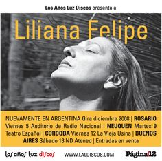 Liliana Felipe. Aviso en diario Página/12 para recital. Diseño Carlos Carpintero.