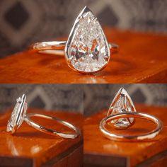 Pear Diamond Bezel by David Klass Jewelry. Solitaire Rings, Diamond Rings, Pear Diamond, David, Silver Rings, Engagement Rings, Jewelry, Enagement Rings, Wedding Rings