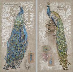 Amazon.com: Wall Décor,Peacock,Stretch Wall Canvas,Wood and Canvas,18x36 Inches,Set of 2: Home & Kitchen