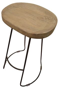 Industrial style wood bar stool