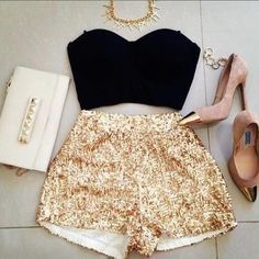 Gold sequin shorts, bustier and gold cap toe pumps...Women's fashion