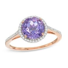 Zales 8.0mm Amethyst and White Topaz with 1/20 CT. T.w. Swirl Frame Ring in Sterling Silver with Rose Rhodium qP8PH692jG
