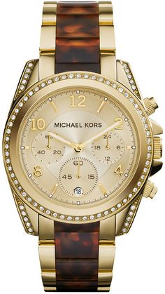 Michael Kors Women's Chronograph Blair Tortoise and Gold-Tone Stainless Steel Bracelet Watch 39mm MK6094 on shopstyle.com