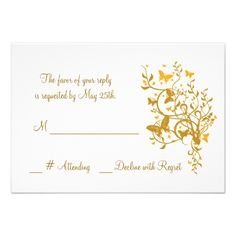 Gold Butterfly Wedding RSVP Card Personalized Invitations