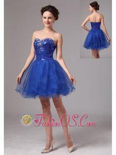 Royal Blue Sweetheart Beaded Mini-length Club Cocktail Dress