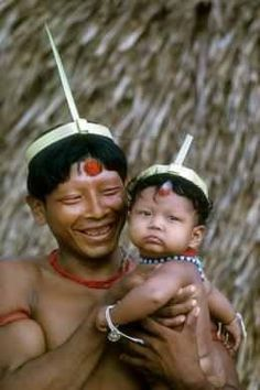Suruna Indian father and son . Brazil Amazon