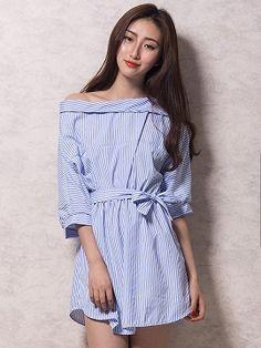 Shop Blue Off Shoulder Stripe Print Button Side Bow Waist Dress from choies.com .Free shipping Worldwide.$13.9