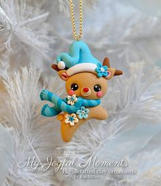 Handcrafted Polymer Clay Reindeer Ornament by MyJoyfulMoments