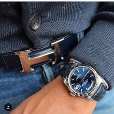 Blue Dial Rolex Day-Date with Hermes belt. #rolexwatch credit @dailywatch…