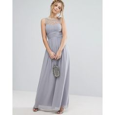 Little Mistress Embellished Maxi Dress ($119) ❤ liked on Polyvore featuring dresses, grey, embellished maxi dress, ruched maxi dress, grey maxi dress, beaded dress and maxi dress