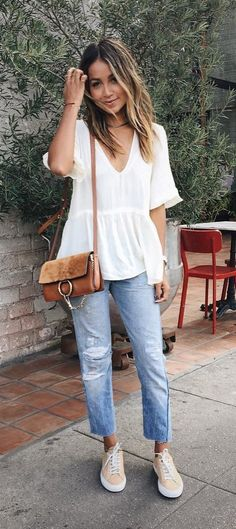 A Flowy Top, Boyfriend Jeans, and Sneakers                                                                                                                                                     More