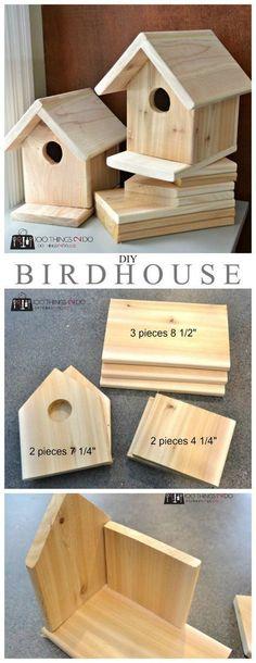 DIY Birdhouse. Cheap/easy to make birdhouse. Directions at link. #woodenbirdhouses #easybirdhouses