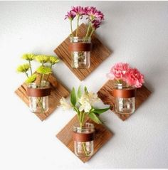 DIY Mason Jar Projects for Home Decor. These would look amazing mounted to slate tiles!