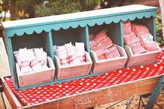 Red and teal vintage popcorn wedding favor station. Cute!