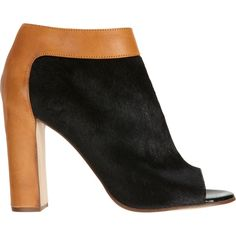 Chloé Ponyhair Peep Toe Ankle Boot ($399) ❤ liked on Polyvore