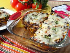Tortilla Casserole:     These are the ingredients I often use for this dish.    Tortilla	- 4  Onion	- 1 small  Green Bell Pepper	- 1 medium chopped  Jalapeno	- 2 small  Black beans	- 2 cans (drained and rinsed)  Corn	- 1 can  Picanate/Taco Sauce	- 1 cup  Salsa	- 1 cup  Cumin	- 1/2 tsp  Mexican Cheese	- 2 cups  Oil	- 1 Tbsp