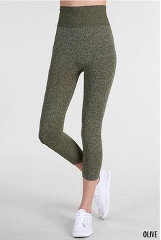 Two Tone Dye High Waist Leggings in Olive