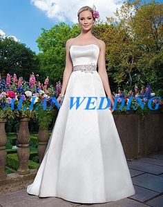 >> Click to Buy << 2015 Vintage Bridal Gowns A Line Satin Belt Beading Wedding Dress off the Shoulder Free Shipping NW3346 #Affiliate