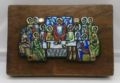 Arte: Esmalte antiguo de última cena emplomado y plata de ley sobre madera, obra…