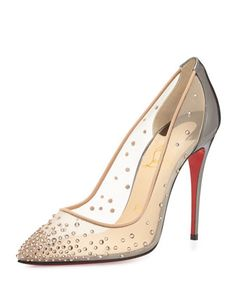 Follies Crystal Mesh Red Sole Pump, Silver/Nude by Christian Louboutin at Bergdorf Goodman.