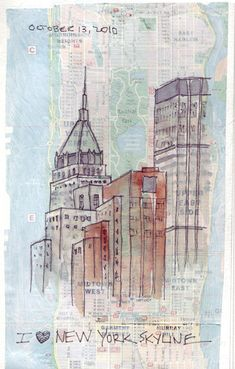 From Jane LaFazio's tutorial: glue a map and then lightly paint the glossy map with Golden absorbent ground and then drawing and painting with pigma micron pens and watercolor washes.