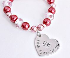 Faith Hope Love 1 Cor. 13:13 Scripture Hand stamped bracelet by CICinspireme, $25.00