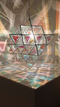 Created by Asaf Zakay in dichroic glass Geometric Pendant Light, Stained Glass Art, Home Design, Design Design, Light Art, Interior Lighting, Sacred Geometry, Dichroic Glass, Woodworking Crafts