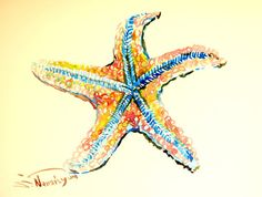 Hey, I found this really awesome Etsy listing at https://www.etsy.com/listing/203251830/blue-orange-red-starfish-painting-12-x-9