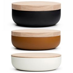 Wood topped ceramic bowls by Vincent Van Duysen.