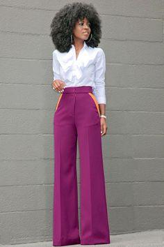 Ruffled Button Down + Contrast Pockets Wide Leg Pants