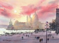 Finishing watercolor painting of Venetian sunset scene