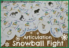 Snowball Fight activity for articulation.  Games for the /s/, /r/ and /l/ phonemes.  Fun winter-themed therapy activity.