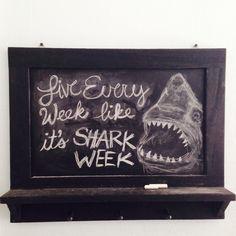"""""""Live Every Week Like It's Shark Week"""" Words to live by. Chalkboard Designs, Chalkboard Ideas, Shark Art, Chalk It Up, Matthew 6, Shark Week, Chalkboards, Sharks, Boy Room"""
