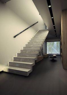 Escalera abierta recta con zancas laterales KONKRET Colección Konkret by Kozac
