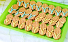 """Check out this rad """"surf's Up"""" party at Kara's Pary Ideas :: Nutter Butter flip-flop cookies Cl Birthday, Birthday Parties, Birthday Ideas, Summer Birthday, Happy Birthday, Birthday Stuff, Birthday Celebrations, Mermaid Birthday, Birthday Wishes"""