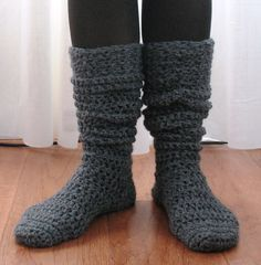 Ball Hank n' Skein: Knee-High Boot Socks! These are crocheted using single crochet (US term) with a chunky yarn.